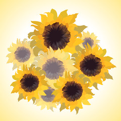 Illustration of bouquet with sunflowers.