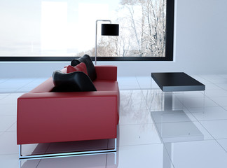 Modern white living room with red couch   3d interior