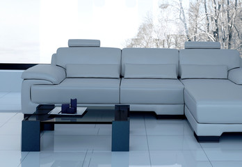 White Couch standing in white living room | 3d Interior