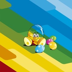 Easter color chick eggs background