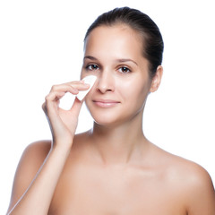 Beautiful Young Woman Touching Her Face.Fresh Healthy Skin.Isola