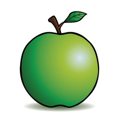 Healthy green apple with cartoon outline.