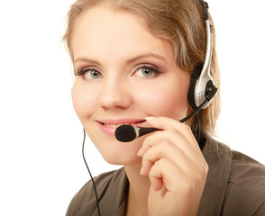 A portrait of a call center employee wearing headset