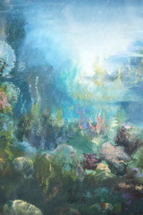 under the sea : oil color painting