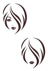 Hair stile icon, the girl's face
