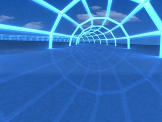 3D tunnel in the airport hall perspective view