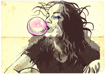young woman blowing bubble from chewing gum