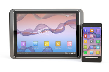 Smartphone and Tablet PC isolated