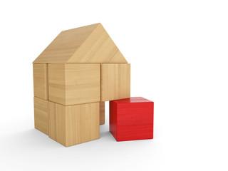 Holzhaus Baustein Konzept - Rot 3