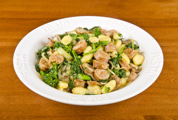 Gnocchi with Rapini and Hot Italian Sausages