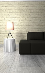 Wohndesign - Sofa schwarz vor naturstein Mauer