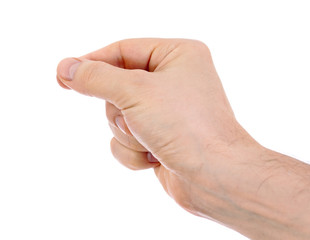 Male hand holding something isolated