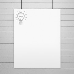 white poster with lamp stencil on a rope