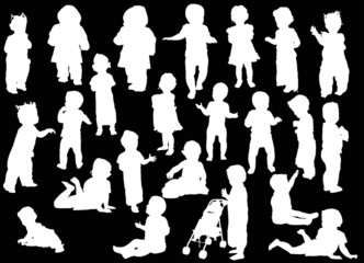 large set of baby white silhouettes