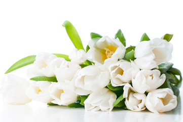 large bouquet of wet white tulips