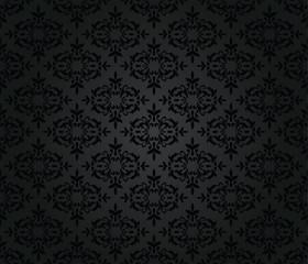 Seamless black floral damask wallpaper pattern