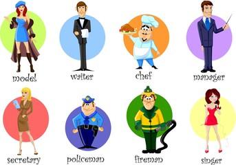 Герои мультфильмов секретарь, менеджер, повар,   официант