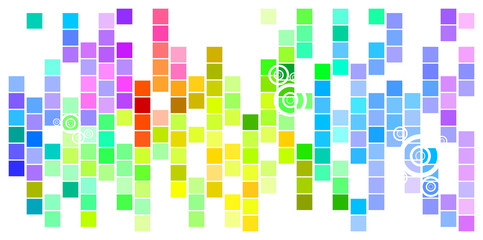 Wall Murals Pixel Abstract Mosaic Rainbow Colored Rectangles With Circles