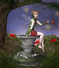 Fototapete - Beautiful fairy sits on a pedestal