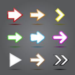 App icons glass set. Glossy arrow web sign.