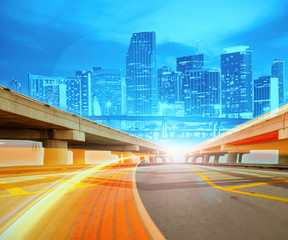 Abstract Illustration of urban highway going to the modern city