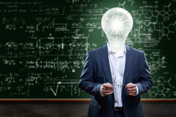 Teacher or College Professor with light bulb head