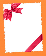 blank paper sheet with red bow on yellow