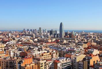Bird's eye view of  Barcelona (Spain) in the morning