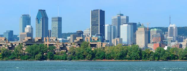 Wall Mural - Montreal city skyline over river panorama