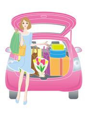 車で買物に来た女性