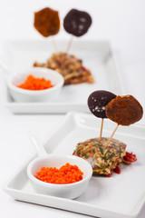 Molekulare Speisen auf Tellern