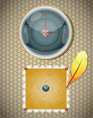 Retro background with clocks and feather.