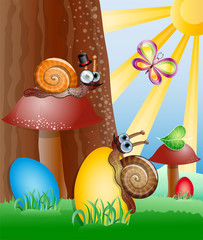 Easter picture with snails. Illustration 10 version
