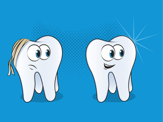 Happy and Sad Teeth Mascots