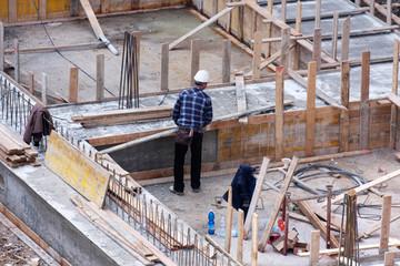 Carpenter at work on site