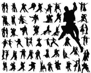 Silhouettes of tango players-vector