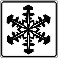 Wall Mural - Schild weiß - Schneeflocke