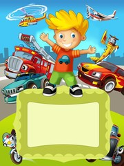 Aluminium Prints Cars The vehicles - the label with kid - illustration