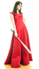 a woman with a baseball bat