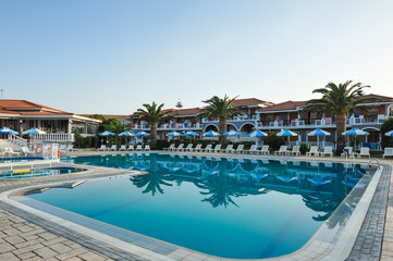 Luxury swimming pool in the tropical hotel in Greece