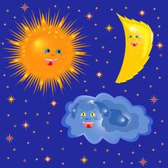 Sun, Moon And Cloud On The Starry Sky