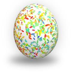 Uovo di pasqua con piccole ellisse colorate su fondo bianco