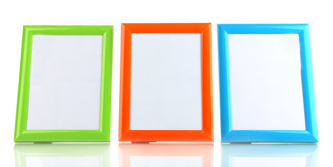Colorful photo frames isolated on white
