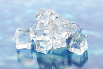 Ice cubes on the background water