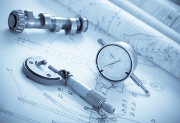 Blueprints with measuring instruments
