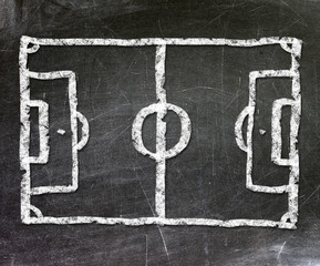 Football field drawn on a chalkboard.