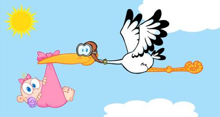 Stork Delivering A Newborn Baby Girl