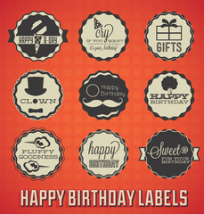 Vector Set: Vintage Happy Birthday Labels and Icons