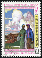 stamp printed by Mongolia, shows Milkmaids