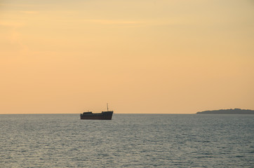 The boat on the sea at sunset,Thailand